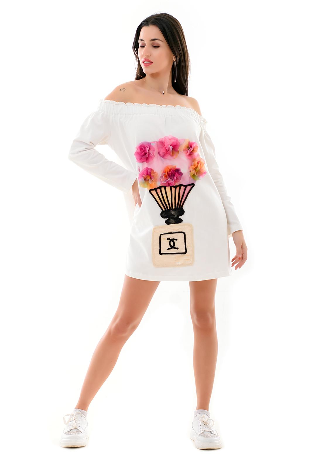 Mini Μπλούζα-Φόρεμα με έξω ώμους. image