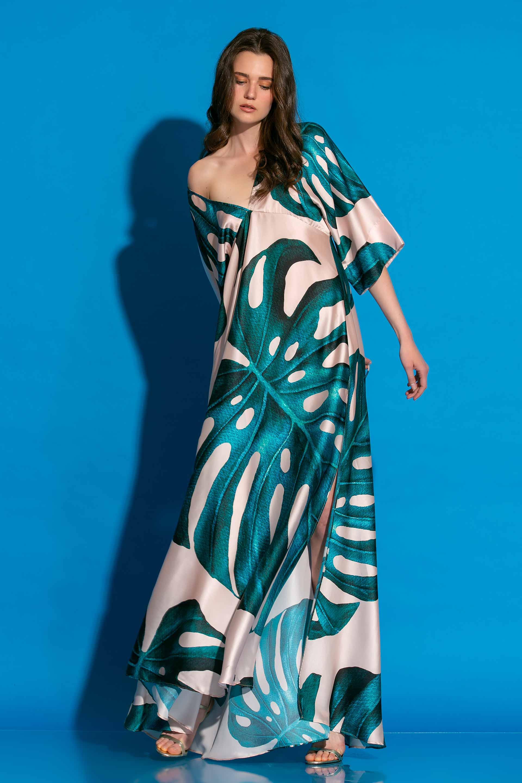 Εμπριμέ Σατέν Μακρύ Φόρεμα image