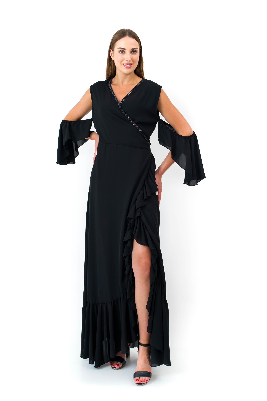 Φόρεμα Maxi Κρουαζέ, με Άνοιγμα Βολάν image