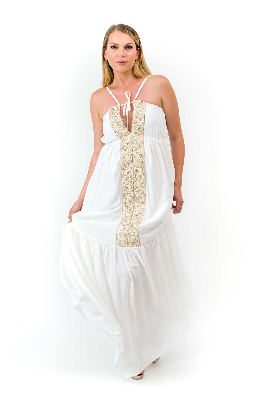 Μακρύ Φόρεμα με Βολάν & Τιράντες  image