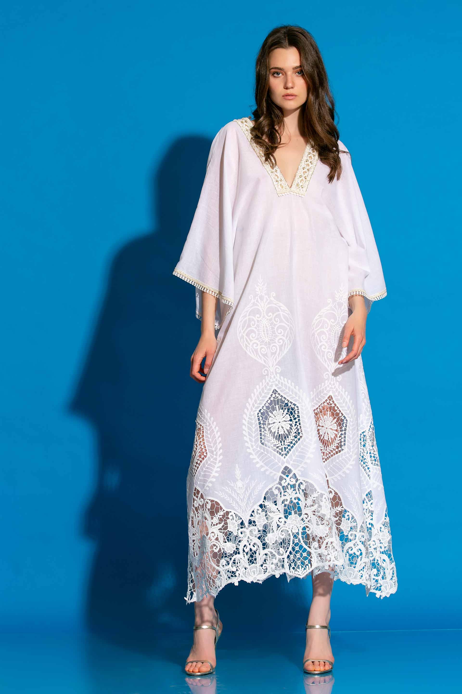 Βουάλ Μακρύ Φόρεμα Με Δαντέλα Στο Τελείωμα image