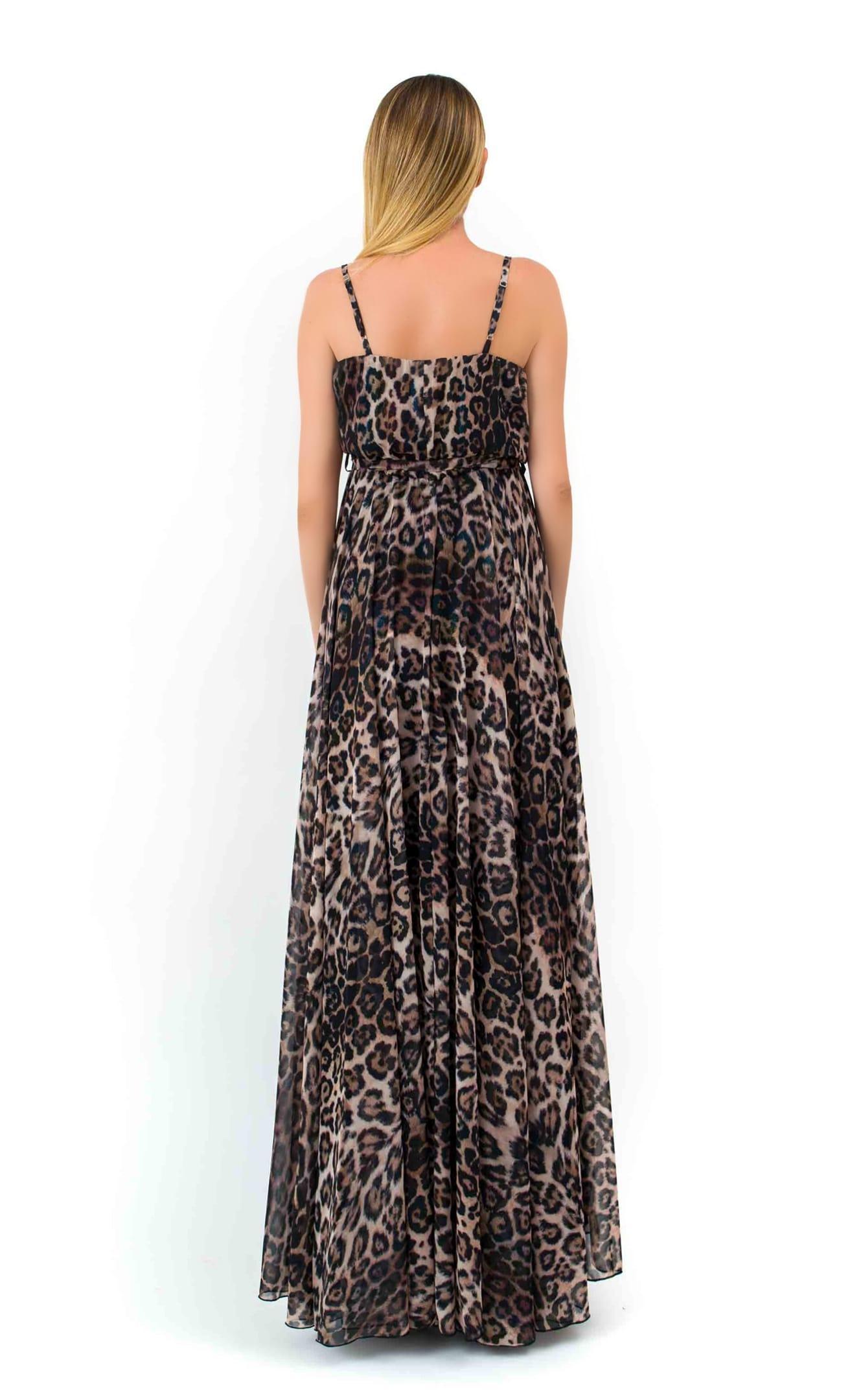 Μακρύ Φόρεμα με Τιράντες Animal Print Κρουαζέ image